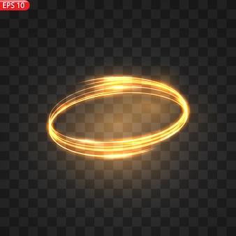 Círculos de luz ardente, efeito de brilho, glitter dourado cintilante círculos ardentes, redemoinhos mágicos e energia da luz