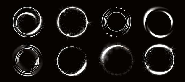 Círculos de luz com brilhos, efeito de brilho mágico.