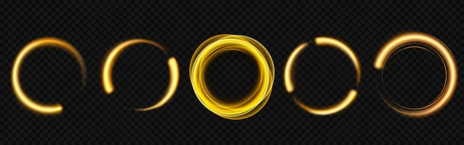 círculos de luz dourada com brilhos