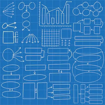 Círculos de mão desenhada diagrama infográfico e retângulos doodle abstrato conjunto de design