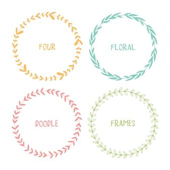 Círculos de mão desenhada doodle quadros florais.