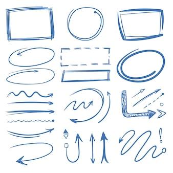 Círculos de marcador, setas apontando, coleção de doodle de quadros.