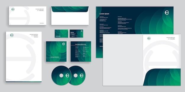 Círculos de mesclagem verdes abstratos identidade corporativa moderna estacionária