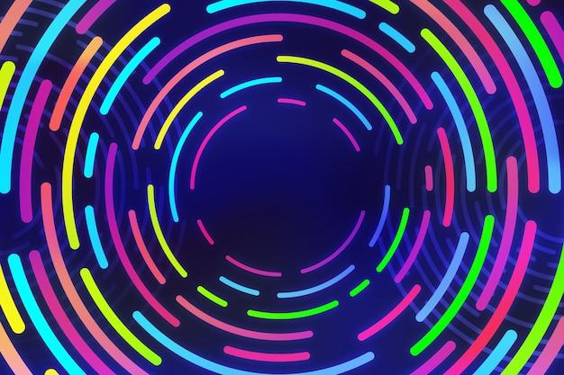 Círculos de néon colorido sobre fundo escuro