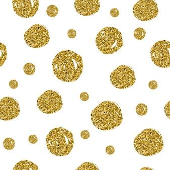 Círculos de ouro padrão sem emenda no fundo branco vector design metálico textura