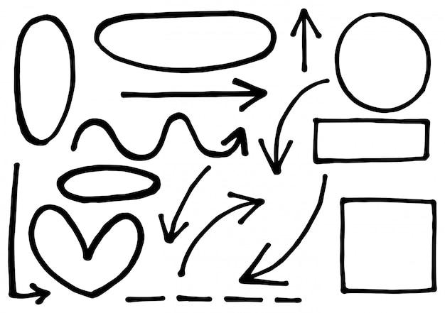 Círculos de setas e conjunto abstrato doodle
