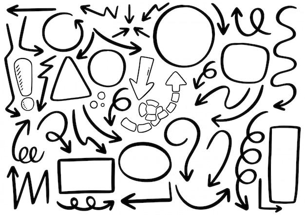 Círculos de setas e doodle abstrato