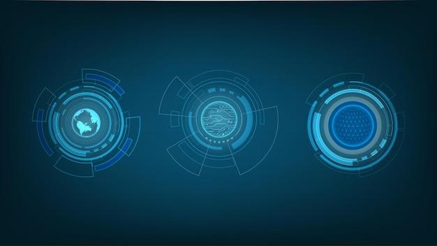 Círculos de tecnologia abstratos, design de tecnologia digital de alta tecnologia
