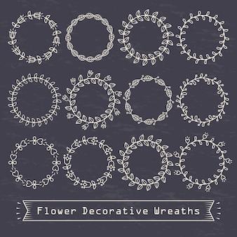 Círculos decorativos com pontos e linhas