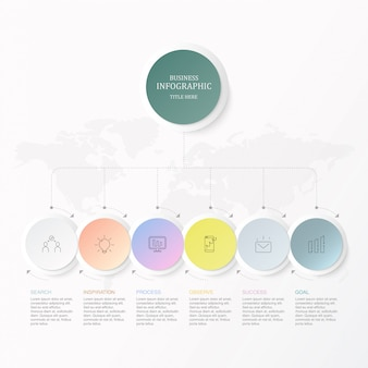 Círculos e ícones coloridos de seis elementos para o conceito atual do negócio.