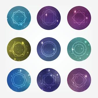Círculos estrelados com ícones de estilo hipster para design de logotipo