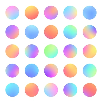 Círculos gradiente esferas desfocadas vivas conjunto plano para ícones da web rótulos de sinais cores suaves da moda