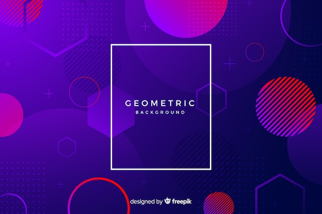 Círculos gradientes com formas geométricas desbotadas