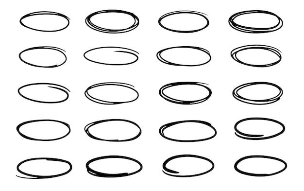 Círculos ovais desenhados à mão com caneta felttip coleção de vetores de quadros pretos doodle