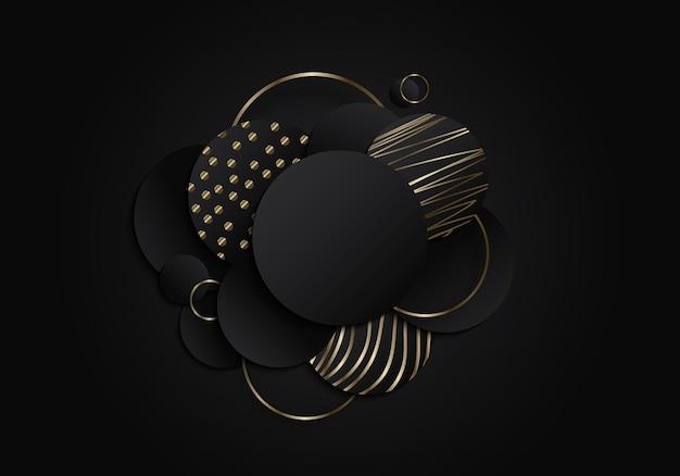 Círculos pretos abstratos geométricos sobrepostos em camadas com elementos de padrão de linhas de ouro em fundo escuro. estilo de luxo. ilustração vetorial