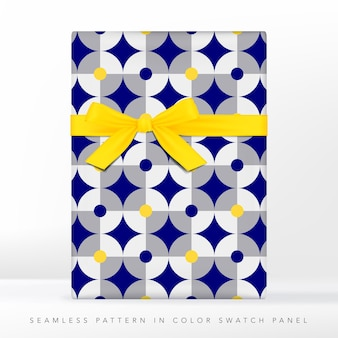 Círculos retrô e padrão quadrado azul e cinza com manchas amarelas neon