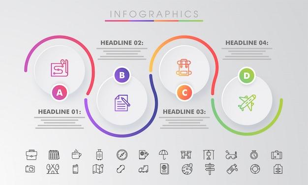 Círculos semi com quatro opções de infográfico de negócios.