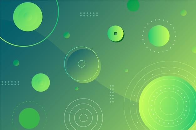 Círculos verdes abstraem fundo geométrico