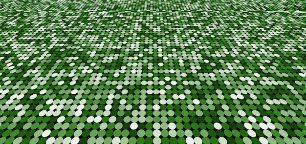 Círculos verdes de padrão abstrato brilham em perspectiva de fundo