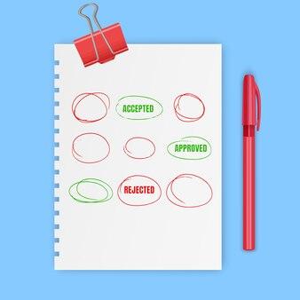 Círculos vermelhos desenhados à mão, marcas para escolha de texto ou seleção de objeto