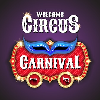 Circus and carnival marquee light bulb vector frame