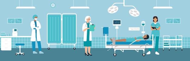 Cirurgia operando em hospital com equipe médica