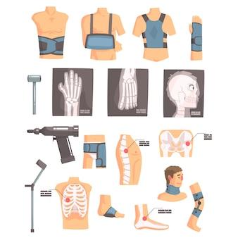 Cirurgia ortopédica e atributos de ortopedia e conjunto de ferramentas de ícones dos desenhos animados com ataduras, raios-x e outros objetos médicos.