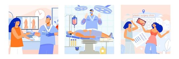 Cirurgia plástica 3 ilustrações quadradas planas