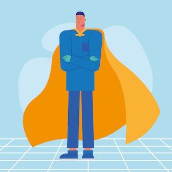 Cirurgião profissional com capa de herói