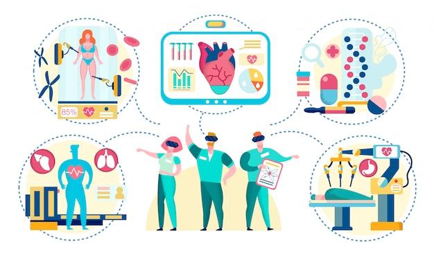 Cirurgiões em óculos de realidade virtual.