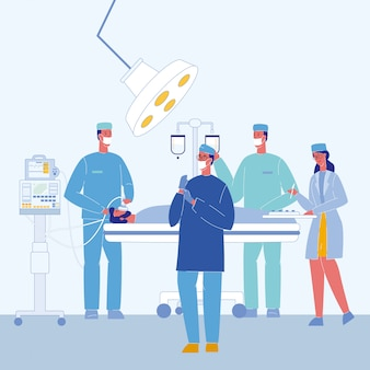 Cirurgiões na ilustração em vetor de sala de cirurgia
