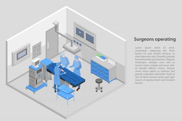 Cirurgiões operando bandeira de conceito, estilo isométrico