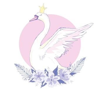 Cisne adorável bonito da princesa, ilustração