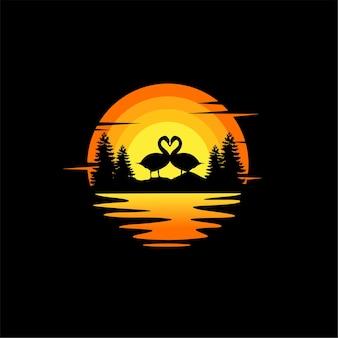 Cisne amor silhueta ilustração vetorial animal logo design laranja pôr do sol nublado vista para o mar