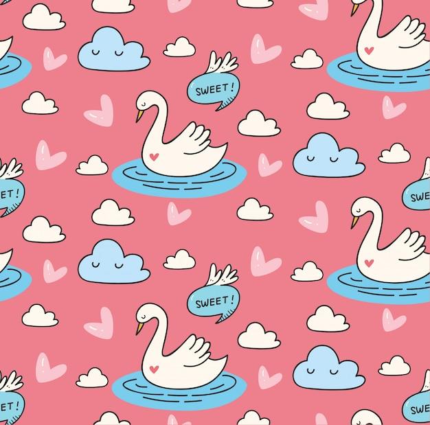 Cisne bonito no lago doodle padrão sem emenda