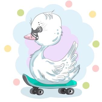 Cisne em um skate