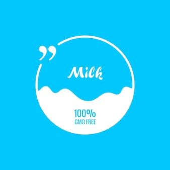 Citação bolha modelo de pacote de rótulo de leite