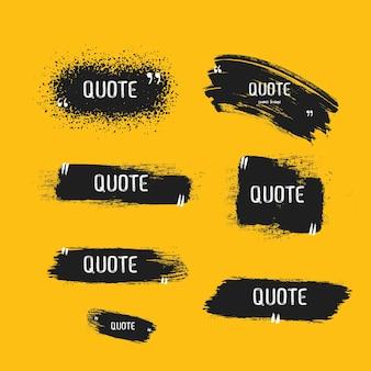 Citação caixa quadro grande conjunto citação ícone da caixa mensagens de texto caixas de citação em branco grunge pincel fundo vetor