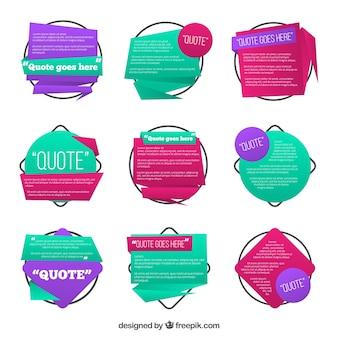 Citação colorido conjunto de modelo