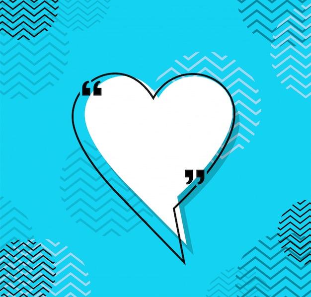 Citação coração de bolha de comunicação