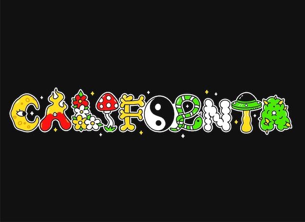 Citação da califórnia, letras de estilo psicodélico trippy. ilustração em vetor mão desenhada doodle personagem de desenho animado. citação dos eua na califórnia. letras divertidas e divertidas, impressão de moda ácida para camiseta, conceito de pôster