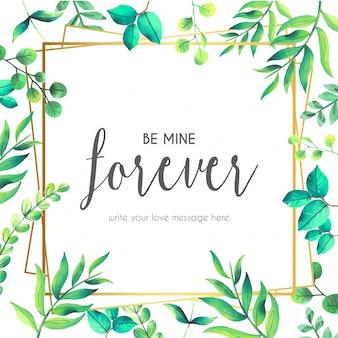 Citação de amor com moldura floral