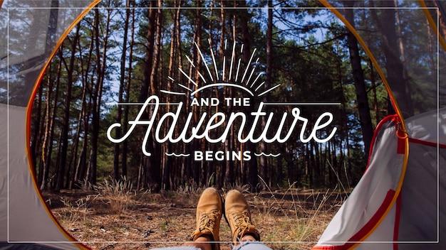 Citação de aventura com foto