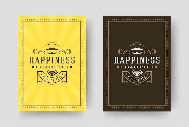 Citação de café, estilo tipográfico vintage, frase inspiradora design ilustração
