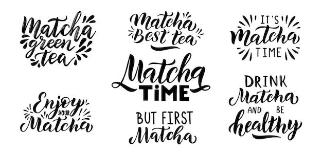 Citação de chá verde matcha isolada no fundo branco. ilustração do vetor de caligrafia.