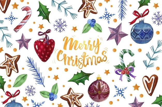 Citação de feliz natal, rodeada de decoração de natal