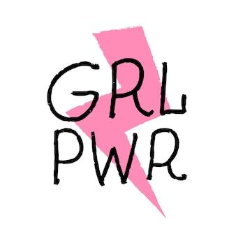 Citação de feminismo de grl pwr e ilustração vetorial de slogan motivacional de mulher em estilo simples com handl ...