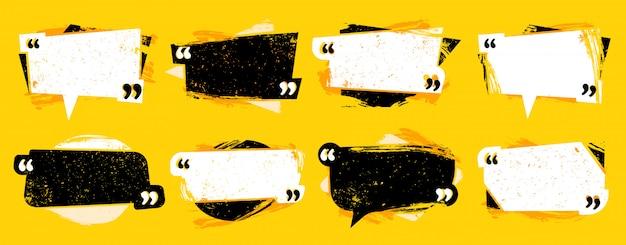 Citação de grunge entre aspas. quadro de cotação texturizado, quadros de discurso de comentário e conjunto de modelo de cotações