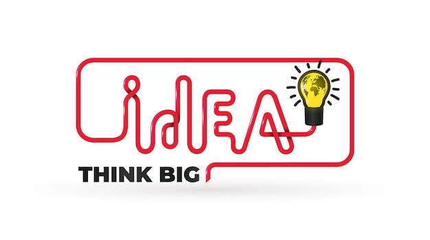 Citação de ideia com lâmpada. texto do slogan pense grande.
