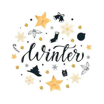 Citação de 'inverno' caligrafia decorada